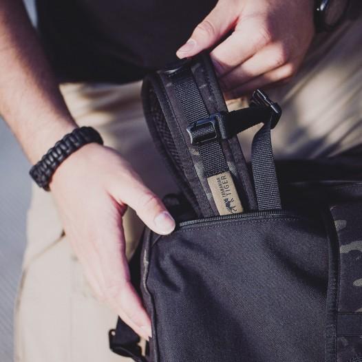Die Schultergurte lassen sich bei Bedarf vollständig in einer dafür vorgesehenen RV-Tasche auf der Rückseite verstauen.