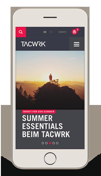 TACWRK Onlineshop Mobile Version