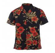 Aloha Shirt Poppies of War Black Schwarz