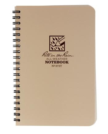 Rite in the Rain - Tactical Side Spiral Notebook 4 5/8 x 7 Tan