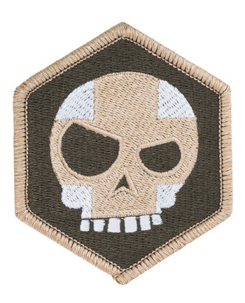 Triple Aught Design - (643) Mean T Skull Cross Hex Patch OD Green