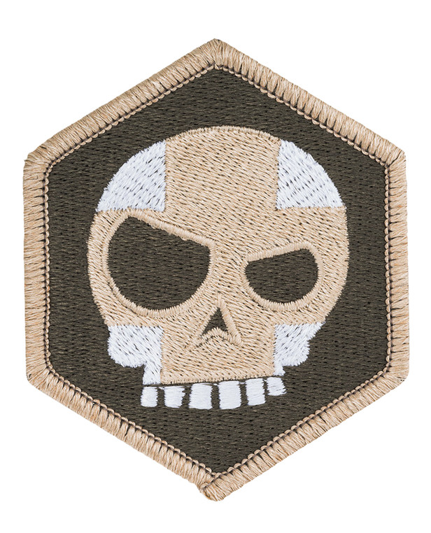 Triple Aught Design Mean T Skull Cross Hex Patch OD Green