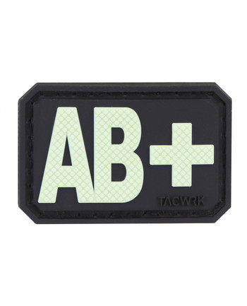 TACWRK - Blutgruppe PVC Patch AB+ GITD Nachleuchtend