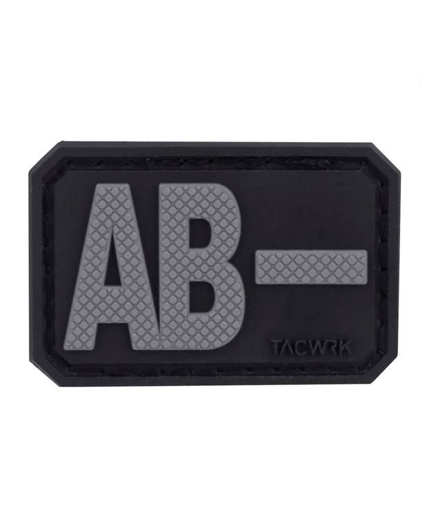 TACWRK Blutgruppe PVC Patch AB- Grau