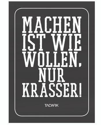 TACWRK - Machen-Wollen Poster Glatt Ungefalzt Schwarz