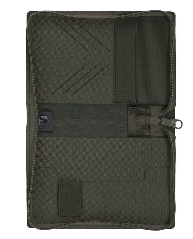 md-textil Document Case A6 w/ Zipper Stonegrey Olive