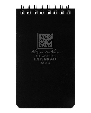 Rite in the Rain - 3 X 5 Notebook Black Schwarz