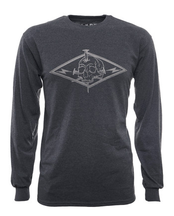 LMSGear - Longsleeve Skull and Flashs Dark Heather