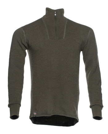 Woolpower - Zip Turtleneck 400 Pine green
